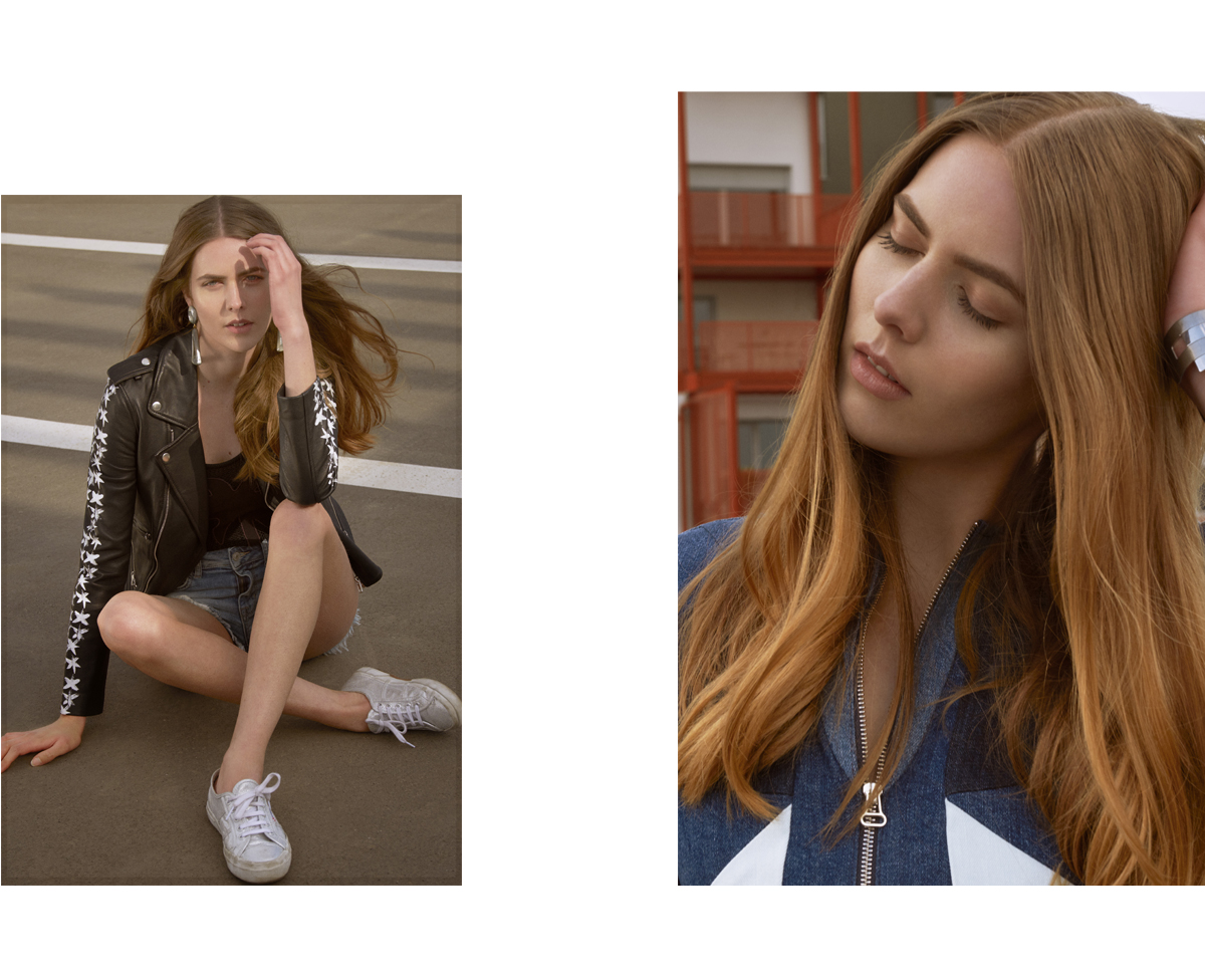 model fashionstory urban girl folk stylemkt studio styling laurent desgrange photography sylvain la rosa supergo claudie pierlot maje perfecto denim patchwork dress maje robe