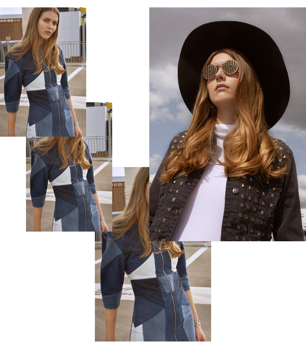 denim dress patchwork maje ursul bracelet star wars sunglasses R2D2 model fashionstory urban girl folk stylemkt studio styling laurent desgrange photography sylvain la rosa