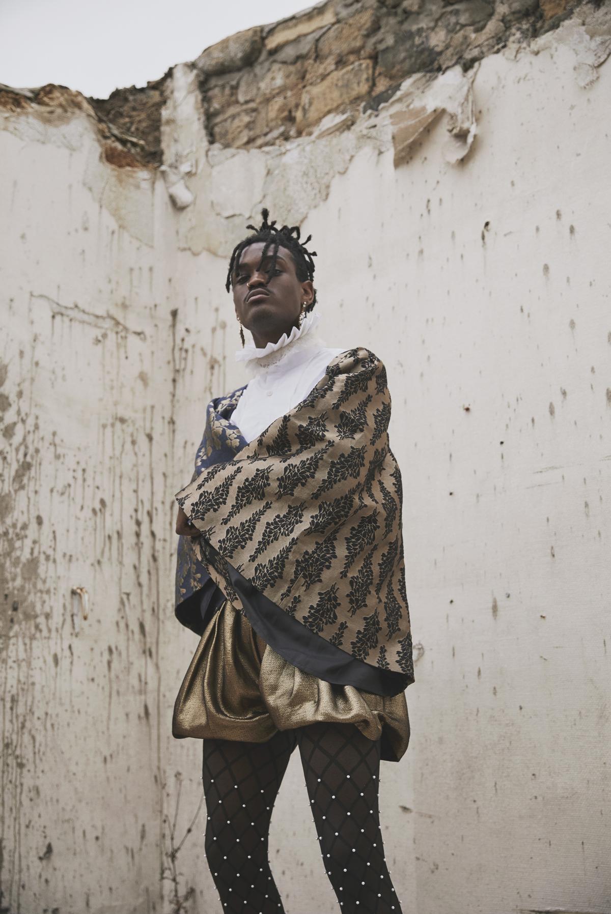 baroque historic costume fashion editorial mens menswear black model